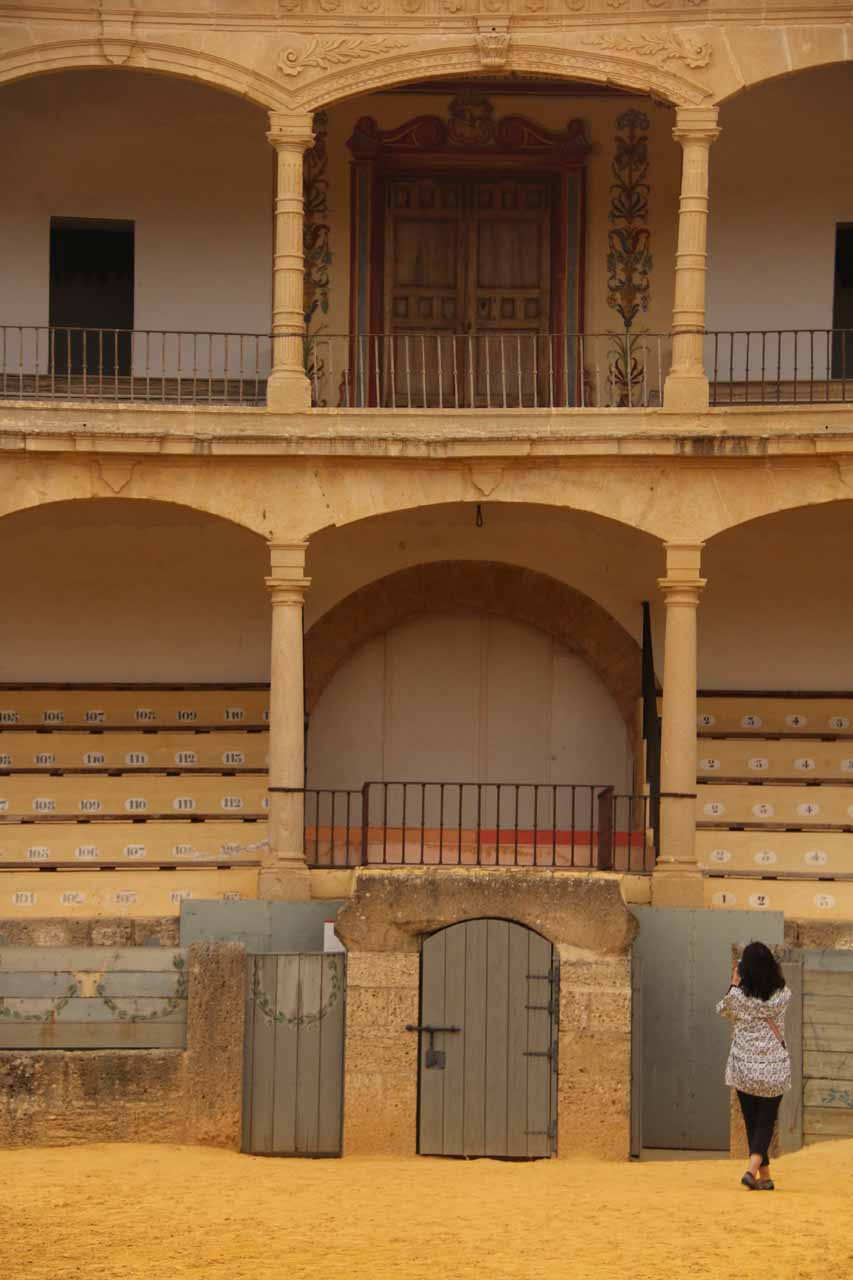 A closer look at where it seemed like VIPs would be sitting while watching the action at the Ronda bullring