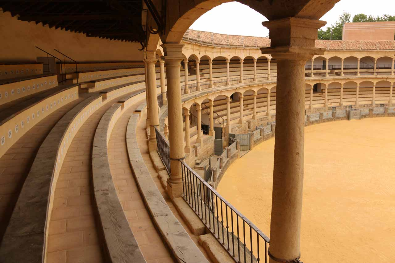 Exploring the stands of the Ronda Bullring