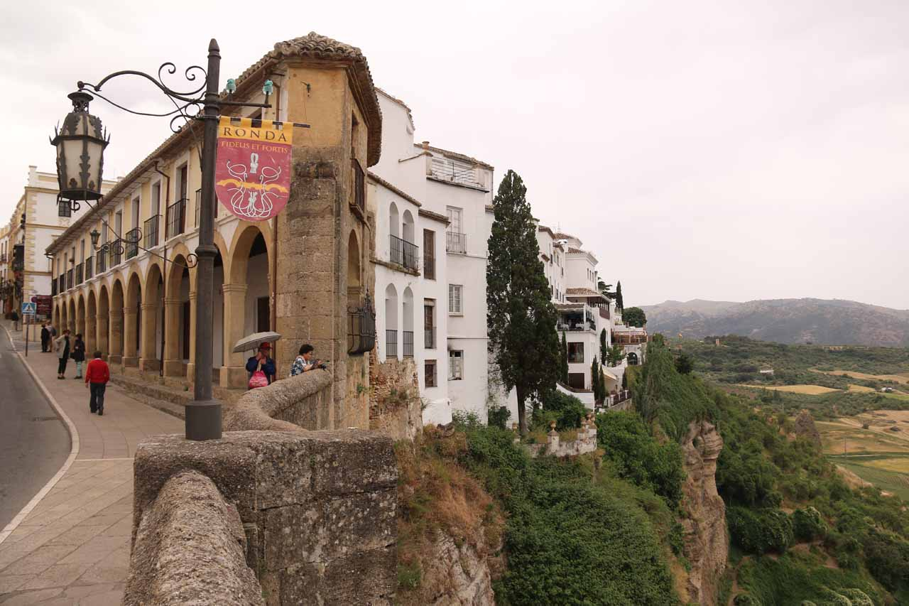 Parting shot of the end of the Puente Nuevo where there was this interesting juxtaposition of gorge and old town