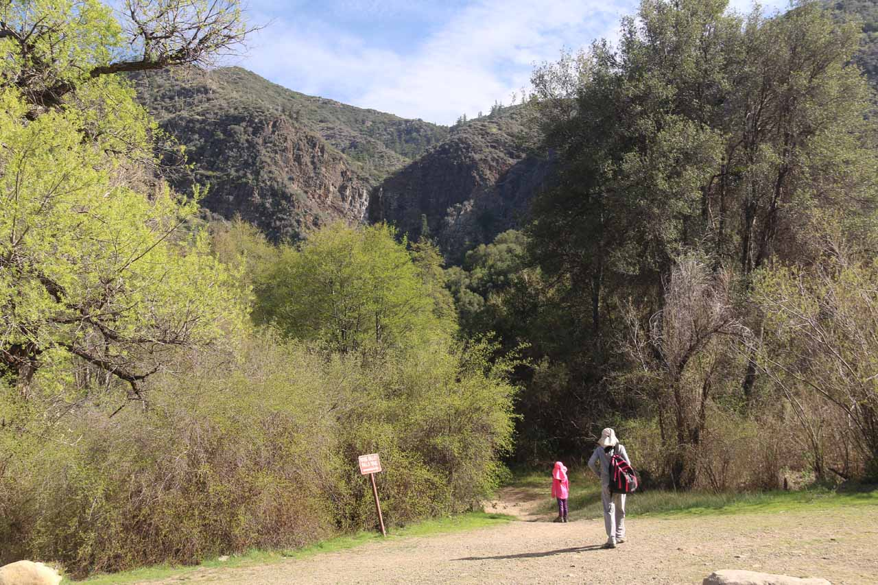 Tahia and Julie getting started on the hike to the base of Rose Valley Falls