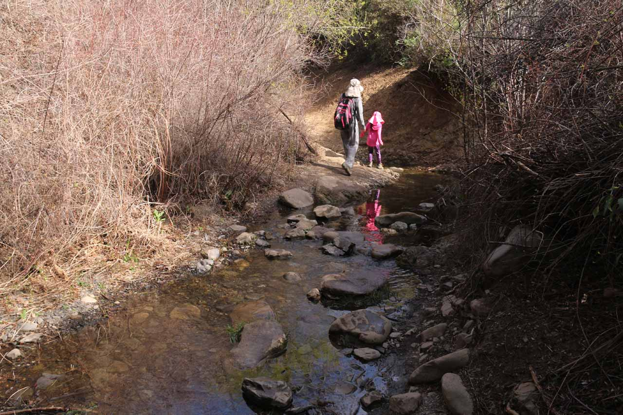 Julie and Tahia traversing the longer of two stream crossings on the Rose Valley Falls Trail