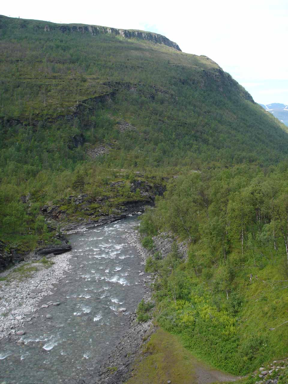 Looking downstream at Skibotnelva and the broad Skibotndalen Valley from the E8