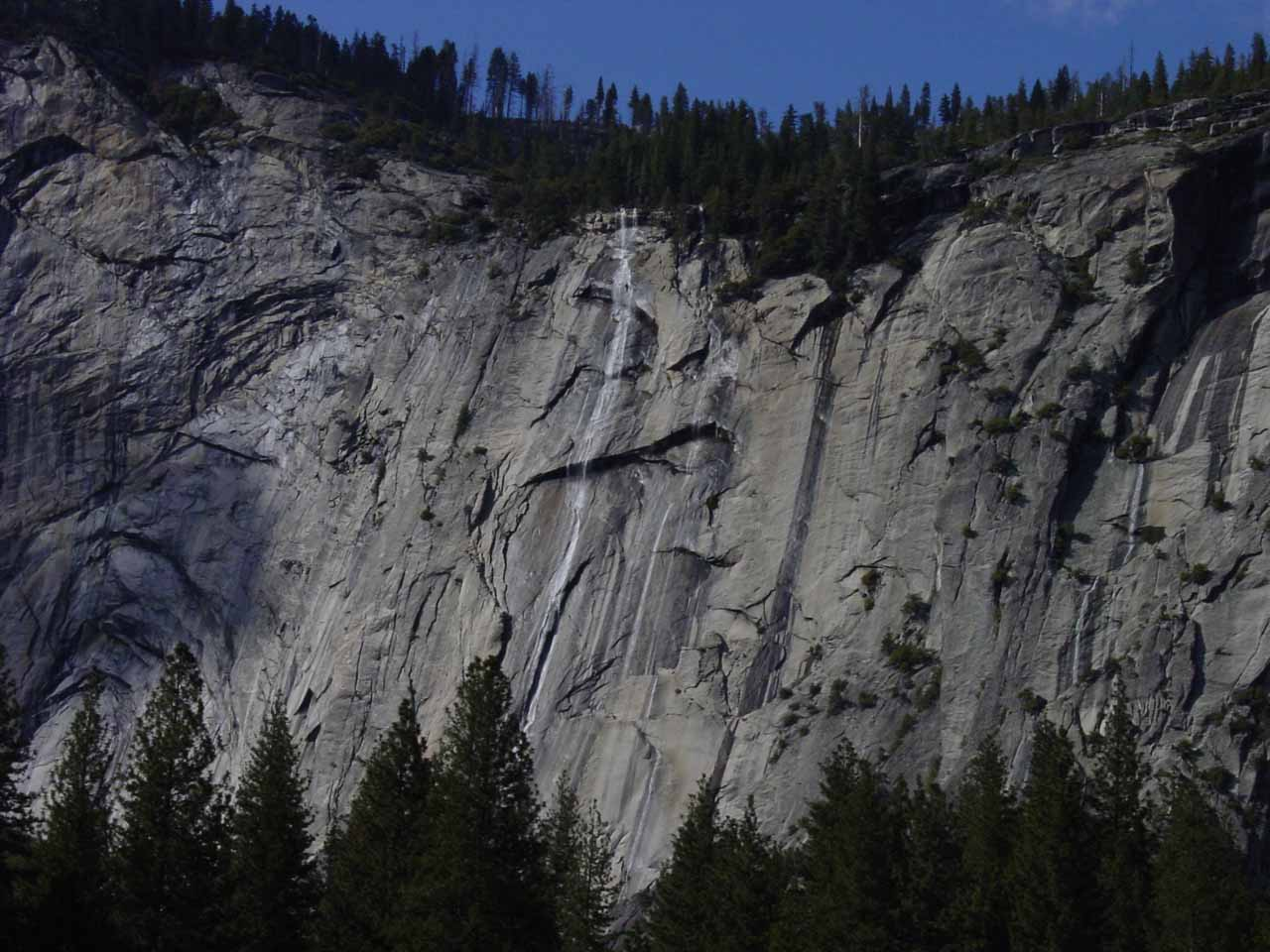 Focused on Royal Arch Cascade from Stoneman Meadow