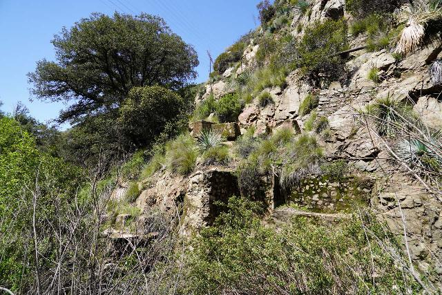 Rubio_Canyon_060_04142020 - Looking back at the remnants of the foundation supporting the Rubio Pavilion at the bottom of the former Great Incline leading up to the Mt Lowe Railway