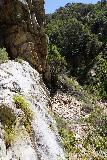 Rubio_Canyon_084_04142020 - Scrambling up to the brink of the Moss Grotto Falls and looking across it towards the gully scramble further to the east of the Rubio Canyon Falls