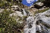 Rubio_Canyon_104_04142020 - Looking right up at the lowermost pair of the Rubio Canyon Falls as I looked for a shorter way to climb up past these waterfalls