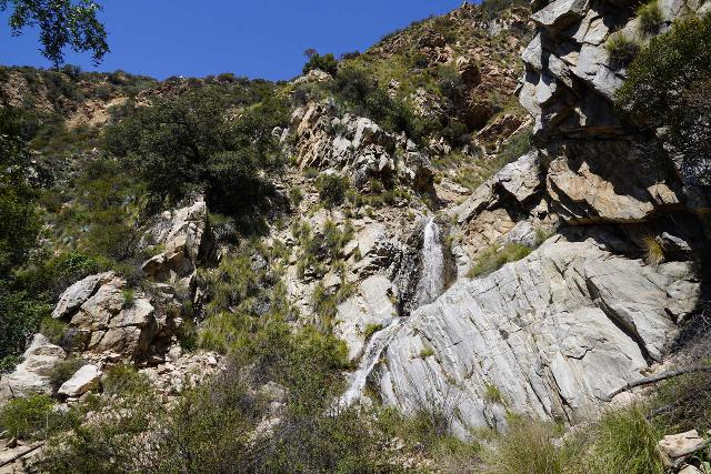 Rubio_Canyon_109_04142020 - Angled look back towards the Ribbon Rock Falls and Moss Grotto Falls from the steep gully after making my way back from its steep descent