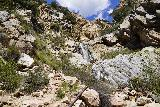 Rubio_Canyon_127_04142020 - Looking back at the last of the Rubio Canyon Falls fronting by a broken diversion pipe