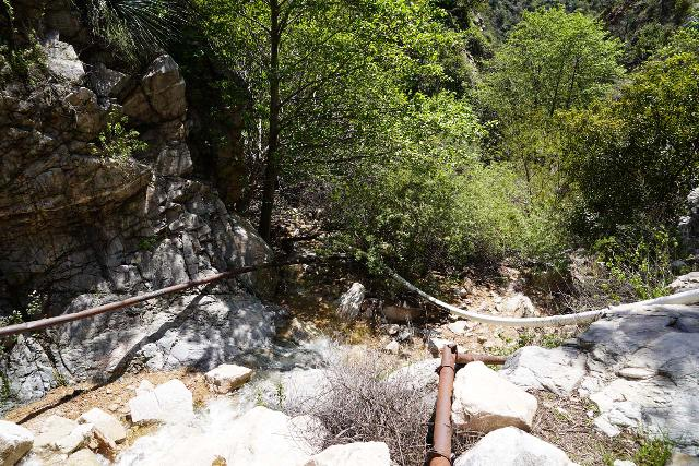 Rubio_Canyon_133_04142020 - The creek scramble in Rubio Canyon involved lots of bouldering, rubbing against prickly vegetation, and dodging these water pipes