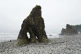 Ruby_Beach_013_06222021 - The familiar sea stack with a pair of small arches on Ruby Beach