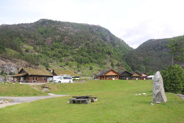 Rullestad_022_06232019 - Looking back at the camping facility fringing the lake Rullestadvatnet, where Sagfossen tumbled into