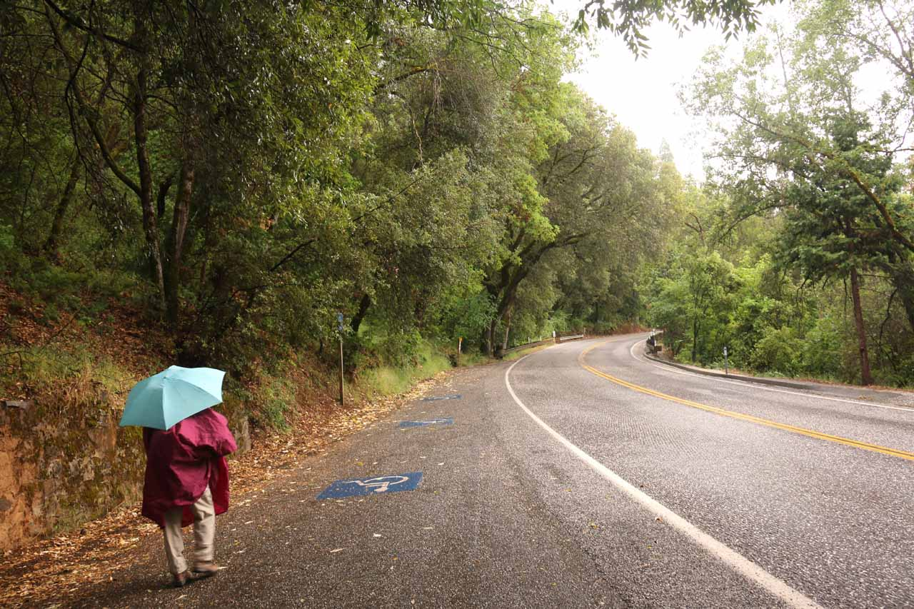 Walking by the handicapped parking spaces for the South Yuba Independence Trail as we were headed to the trailhead