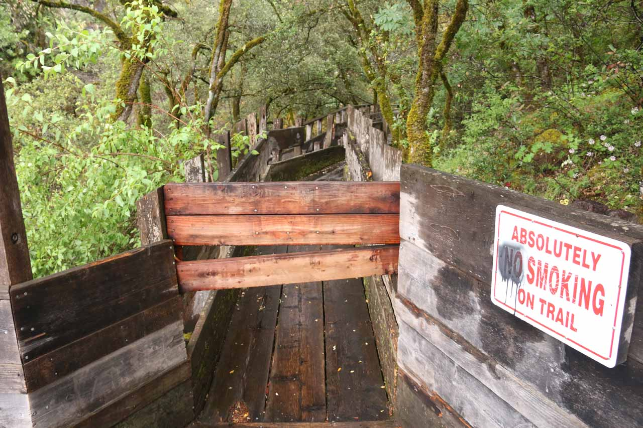 For some reason, they boarded up this access further upstream along Rush Creek, and it turned out that what was behind this board was the best part of the Flume 28