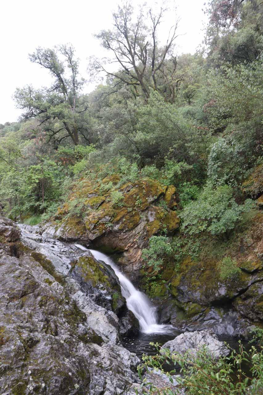 Contextual look at just that upper drop of Rush Creek Falls