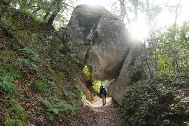 Rush_Creek_Falls_140_05202016 - Mom passing through the Arch Rock along the South Yuba Independence Trail East