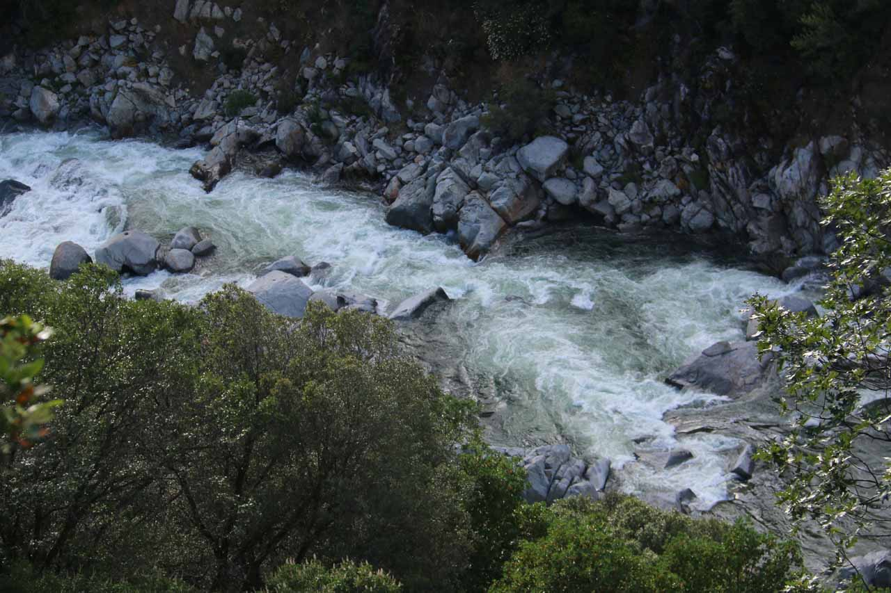 Closer look at the rushing rapids and cascades on the South Yuba River way down below