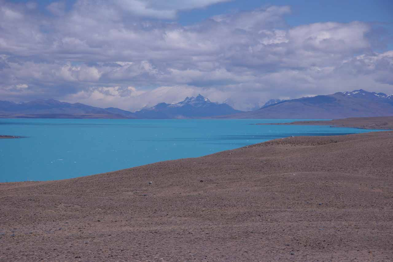 The colorful Lago Argentino as seen from Ruta 40