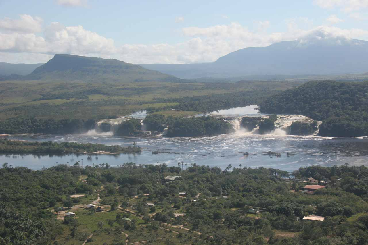 Aerial view of the Canaima Lagoon Waterfalls showing Salto Hacha on the left plus a pair of smaller falls as well as Salto Ucaima on the right accompanied by Salto Golondrina and Salto Wadaima as well as others