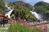 Rv13_151_07242019 - Trying to compose a shot of Låtefossen with blooming flowers in late July 2019