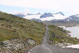 Rv55_552_07222019 - Looking back at the almost classic view of the Sognefjellsvegen leading to the glaciers of Sognefjellet