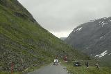 Rv63_Rv15_028_07192019 - Following a car while driving a narrow stretch of the Rv63 through scenic mountains and while approaching Langvatnet