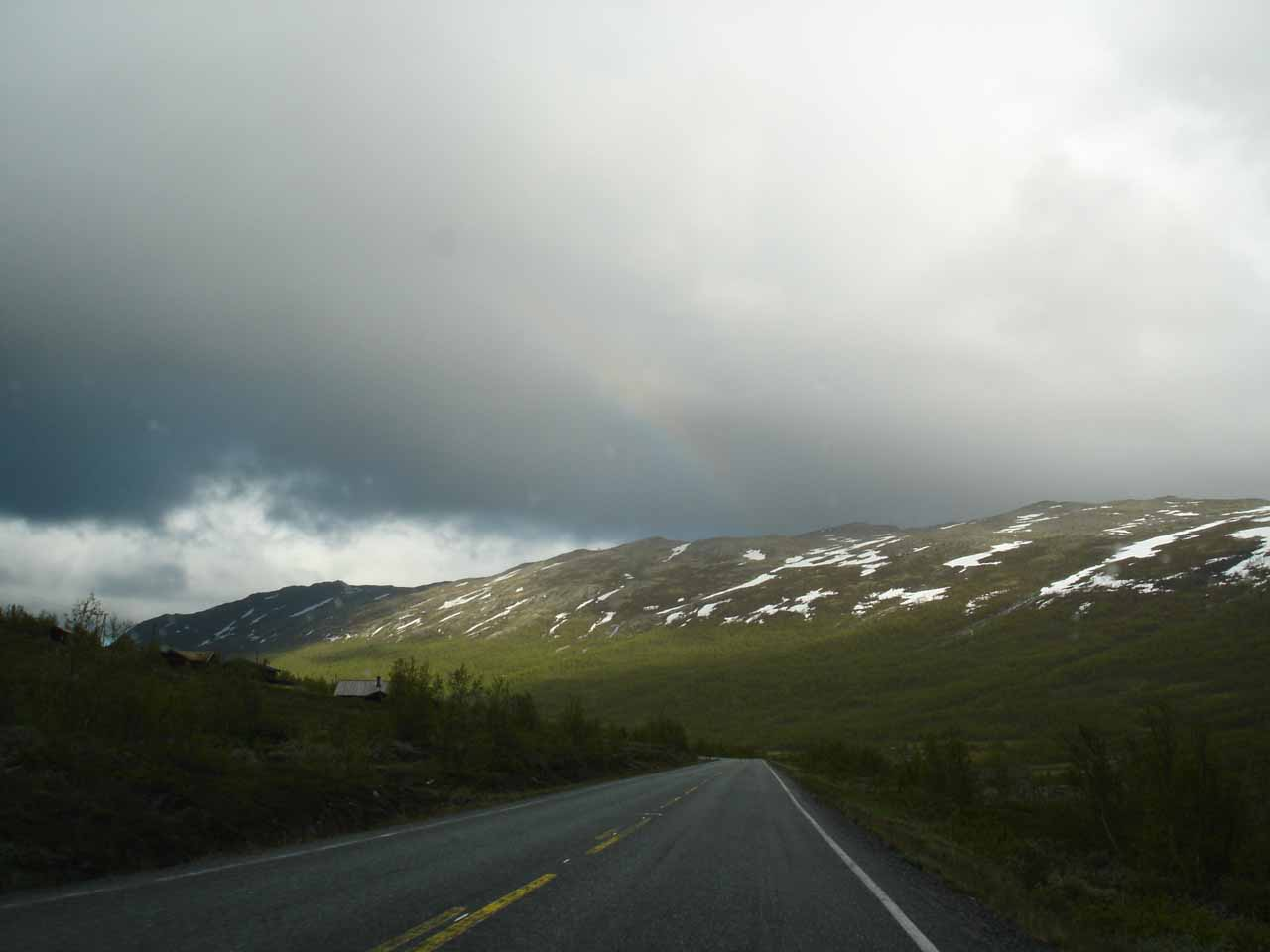 While on the Rv52, we noticed this faint rainbow up in the clouds