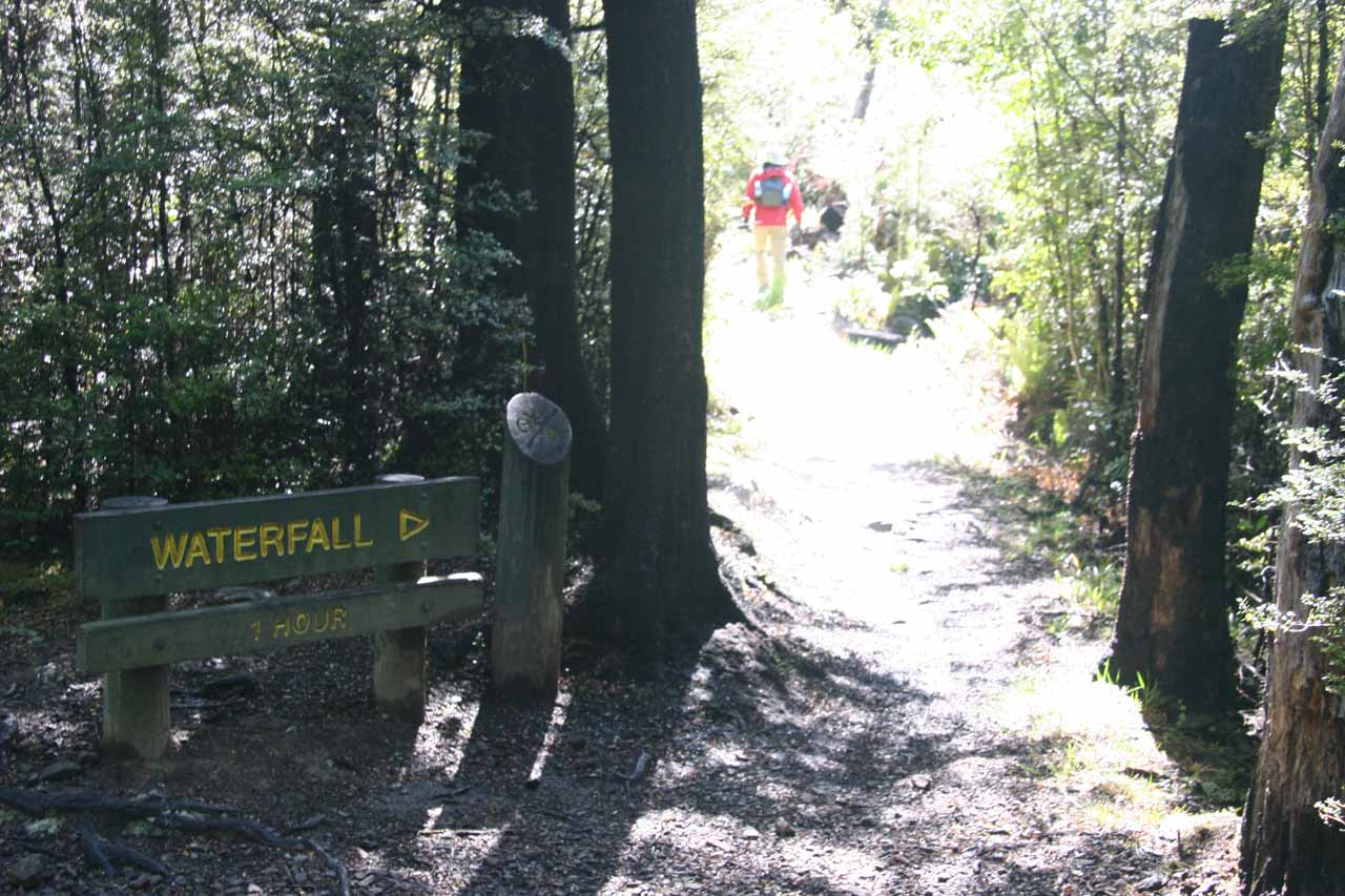 Signposted junction leading to the linking track for Ryde Falls