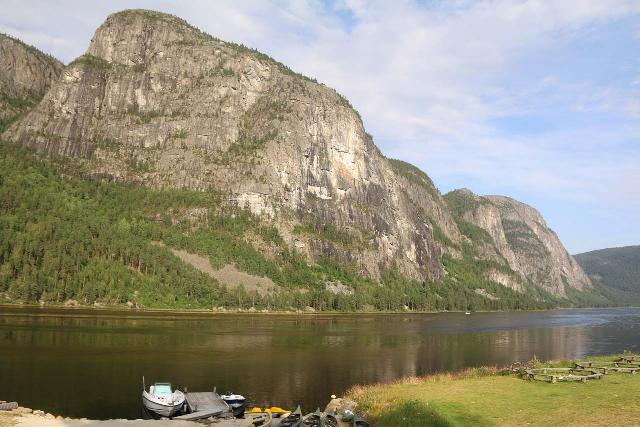 Rysstad_002_07242019 - Rysstad was just north of Reiårsfossen, and it was in the heart of Setesdal Valley with striking formations like what's shown across the lake in this photo of our camping area in town