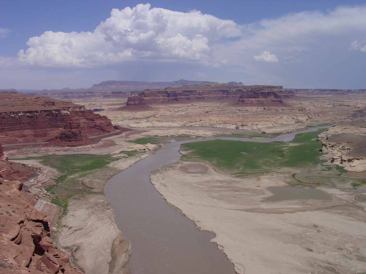 looking towards mud flats surrounding what's left of Lake Powell and the Colorado River near the Hite Marina