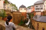Saarburg_Waterfall_030_06182018 - Context of Julie checking out the Saarburg Waterfall from the overlook by the ascending alleyway