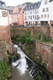 Saarburg_Waterfall_054_06182018 - Focused look at the Saarburg Waterfall topped by some apartments and businesses at their bottom