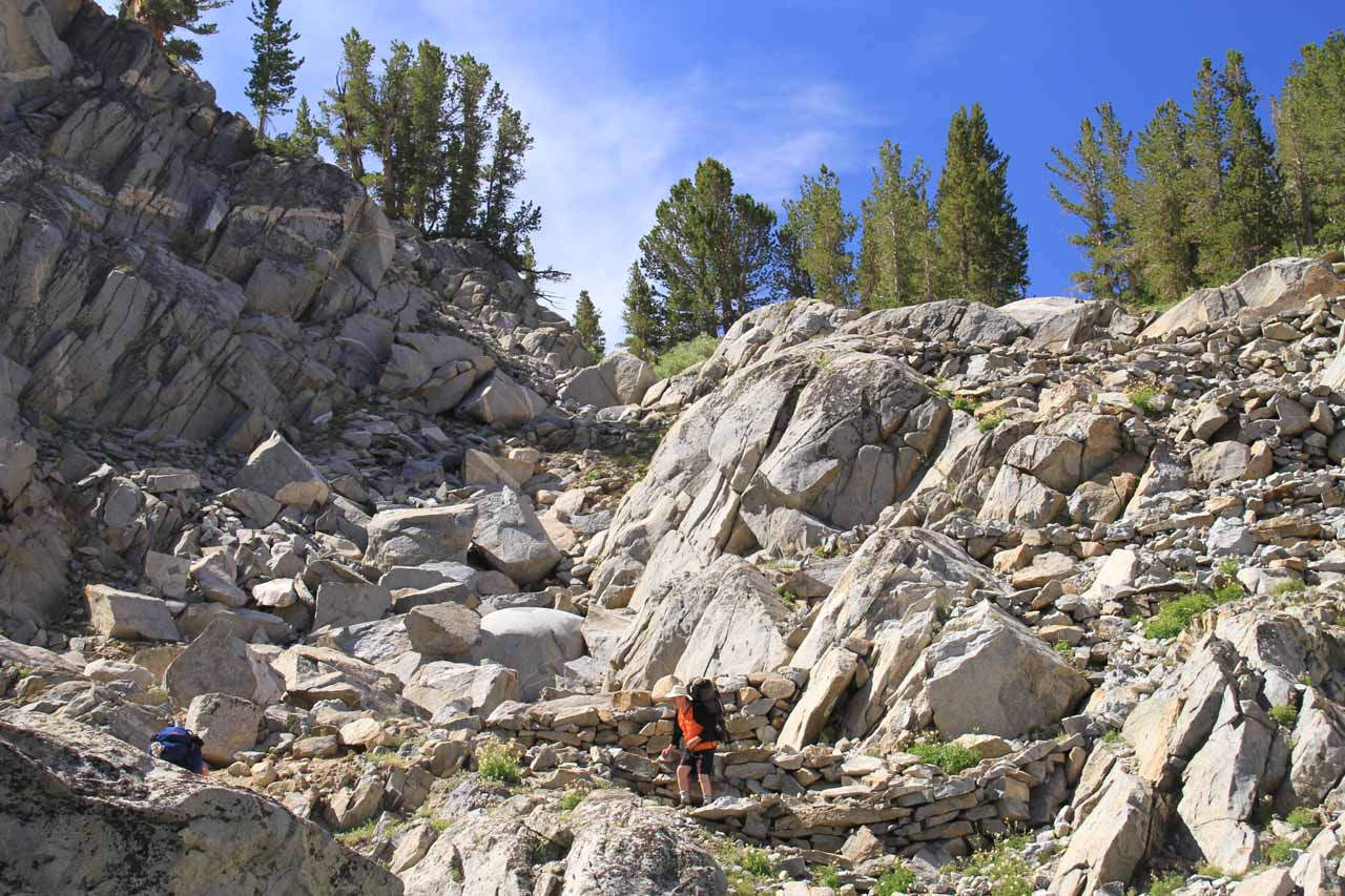 The switchbacks that took a lot out of us between Lake Sabrina and Blue Lake