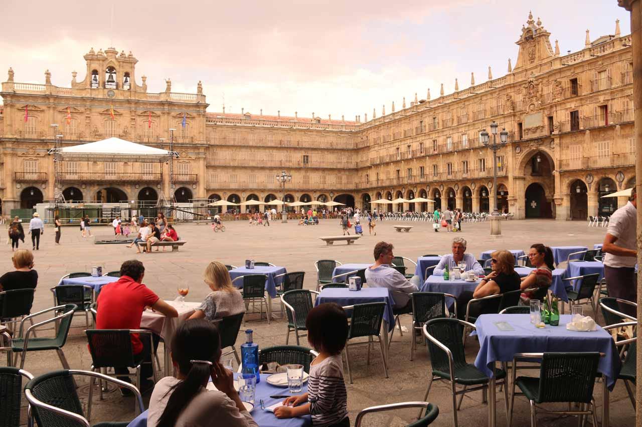 The beautiful Plaza Mayor in Salamanca