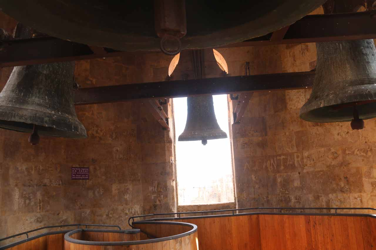 Closeup look at some bells from within one of the towers of the Scala Coeli