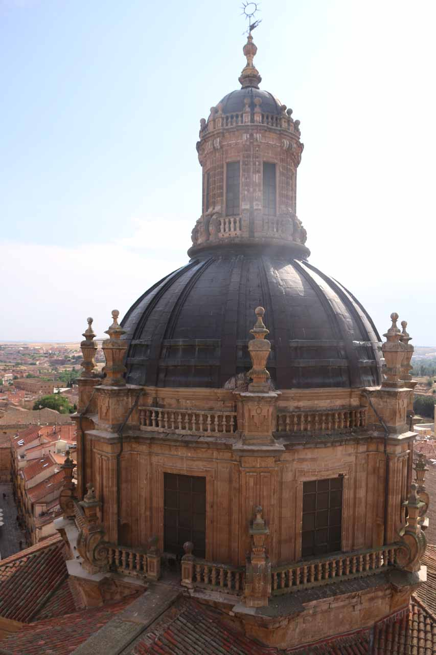 Looking right at the domed tower from a higher vantage point within the Scala Coeli
