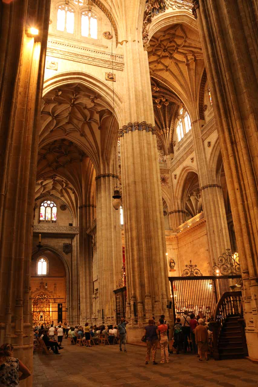 Checking out the festivities inside the New Cathedral in Salamanca during Corpus Cristi