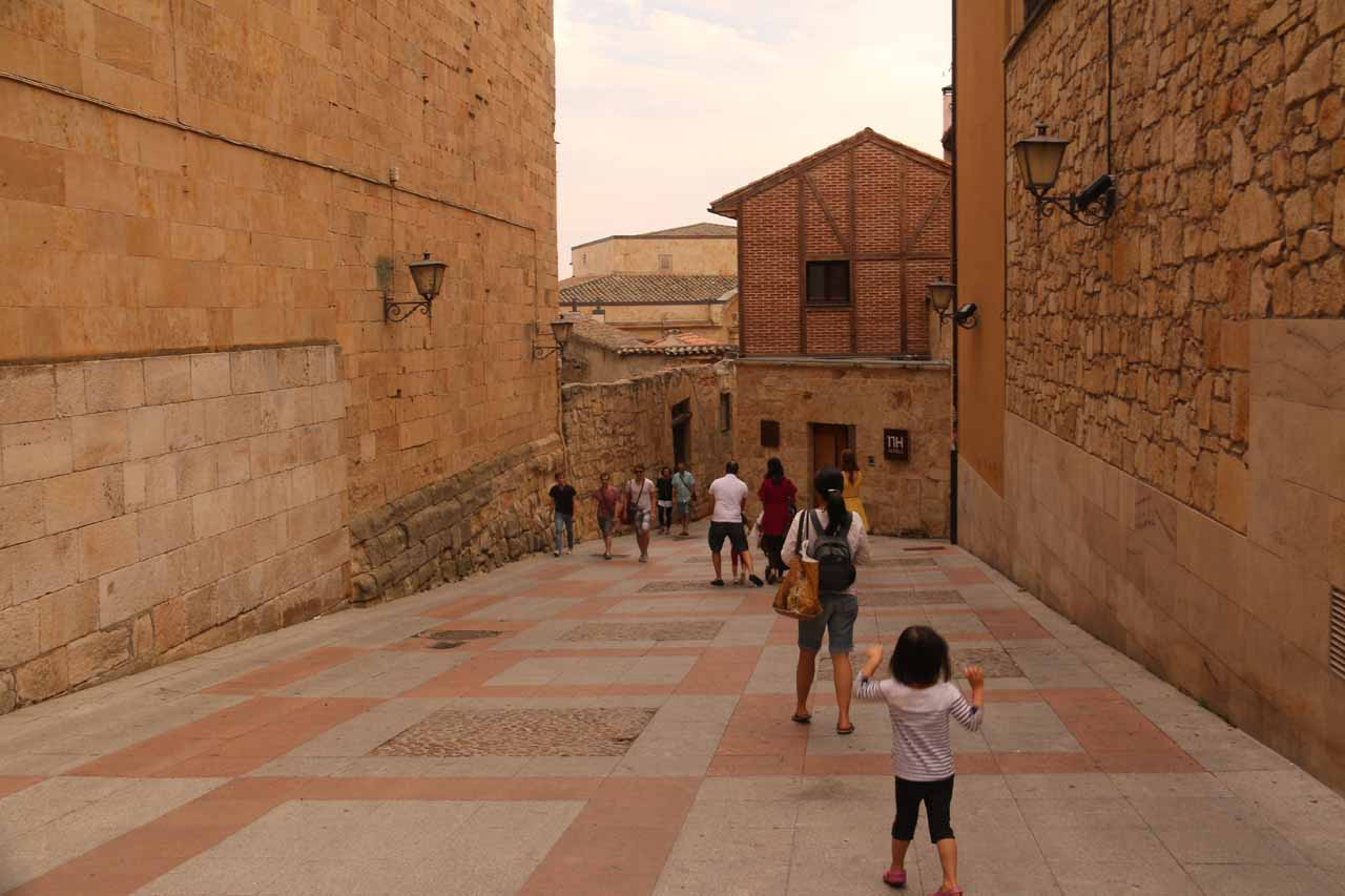 Julie and Tahia heading out of the old town and towards the Roman Bridge