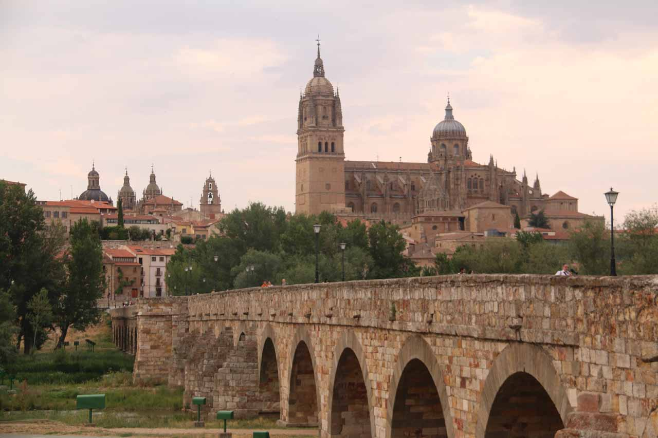 Looking back over the Puente Romano towards the old town of Salamanca