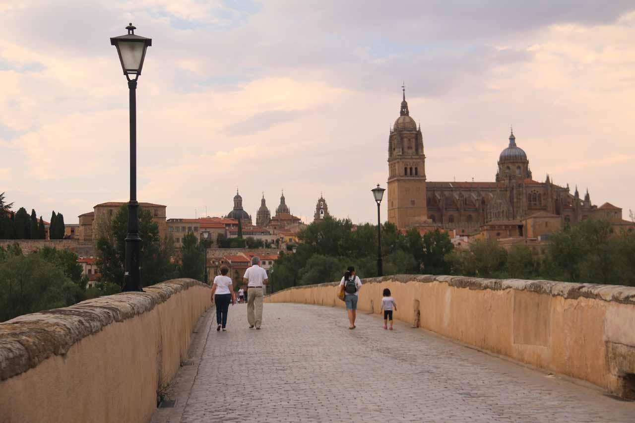 Julie and Tahia going back over the Roman Bridge in Salamanca
