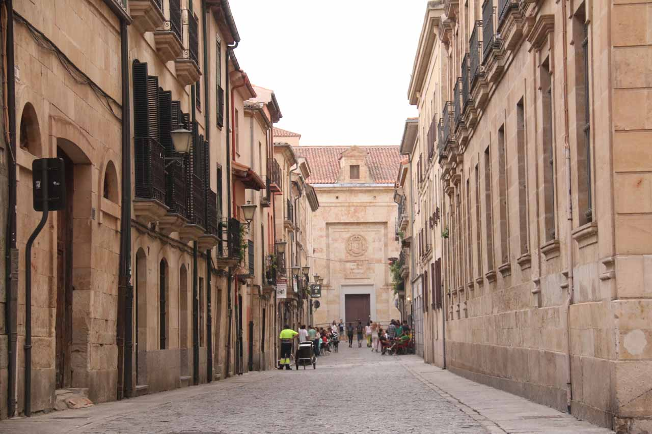 Checking out one of the side streets near the Cathedrals of Salamanca