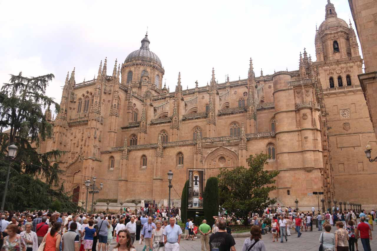 The dispersing crowd from the New Cathedral of Salamanca