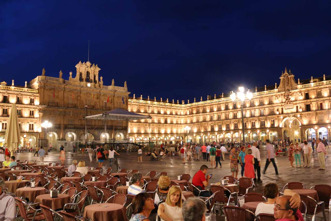 Back at the Plaza Mayor in Salamanca during the magic twilight hour