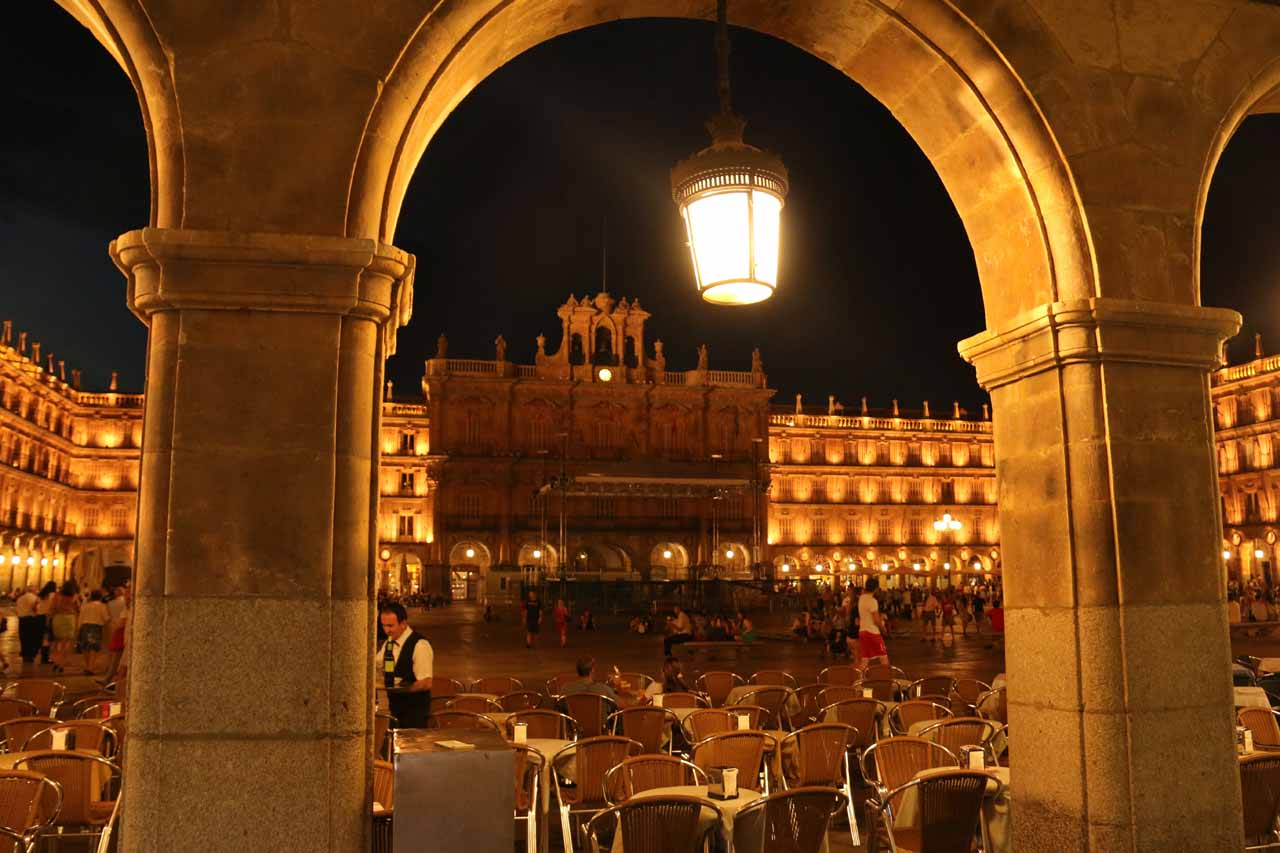 Looking through one of the arches towards Plaza Mayor of Salamanca