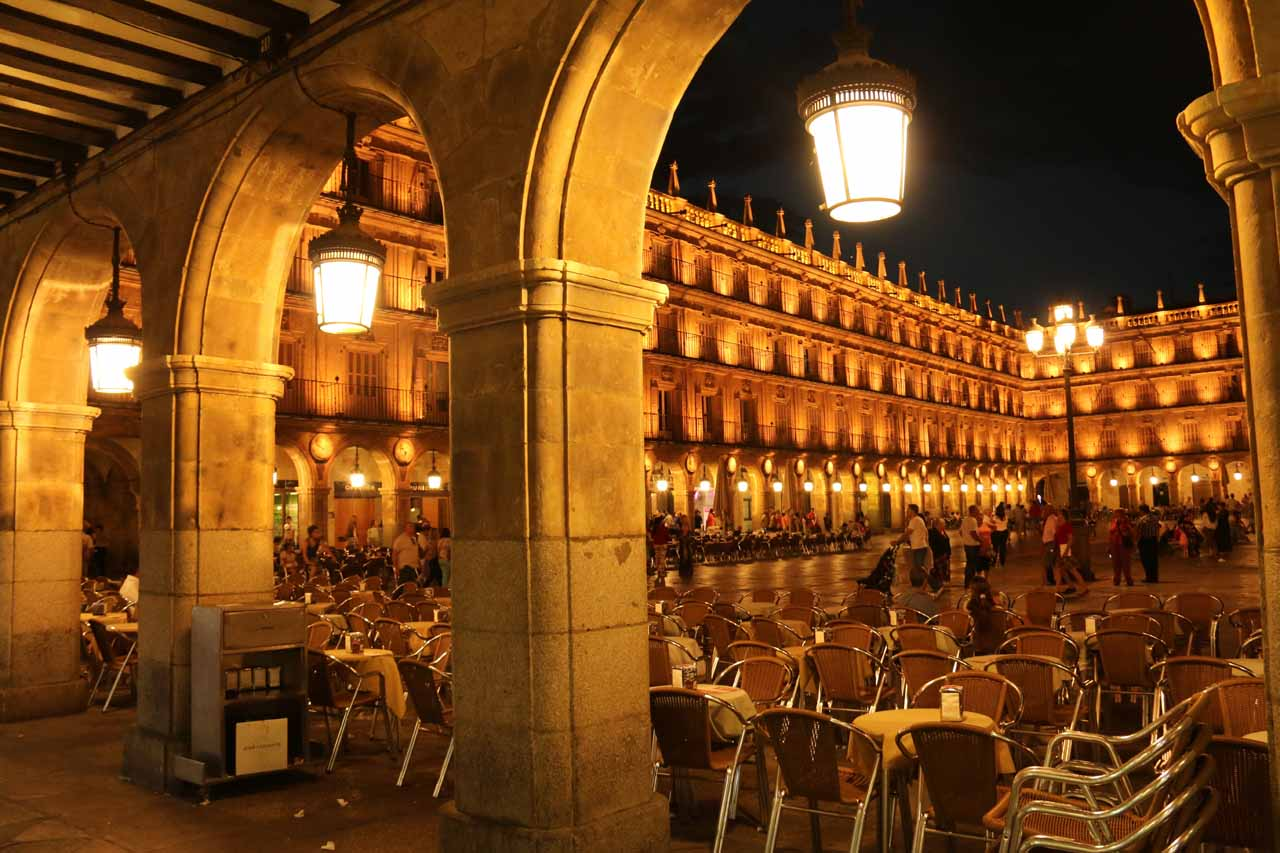 Another moody and atmospheric look through the arches on the perimeter of Plaza Mayor de Salamanca
