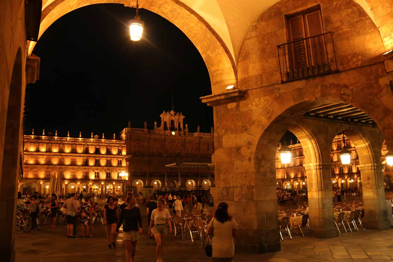 Looking through an arch towards Plaza Mayor from one of the corners of it