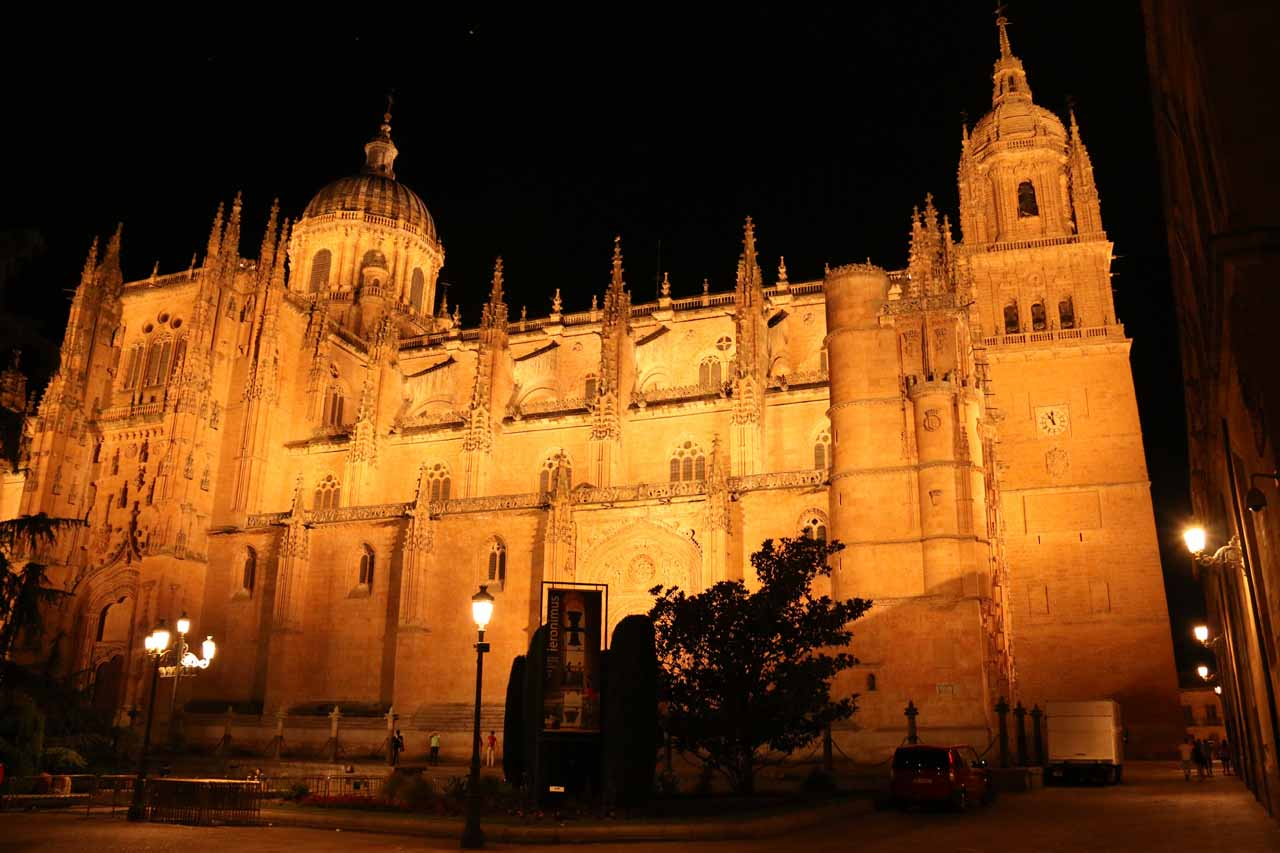 Looking back towards the New Cathedral at night time