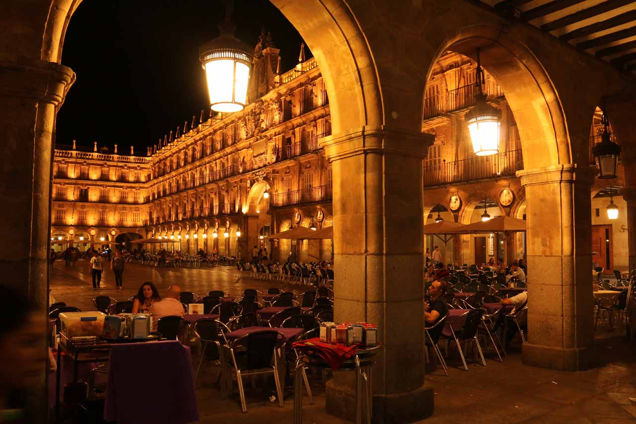 Another look through some arches towards the Plaza Mayor at night