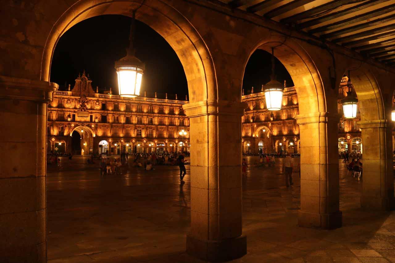 Last look at the Plaza Mayor in Salamanca at night