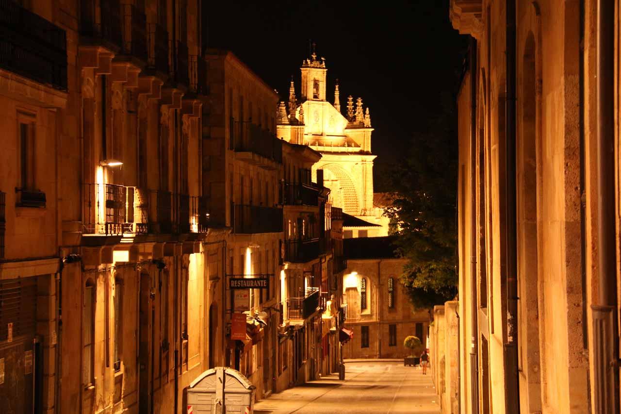 Looking east towards the Convento de las Duenas I think along Palominos