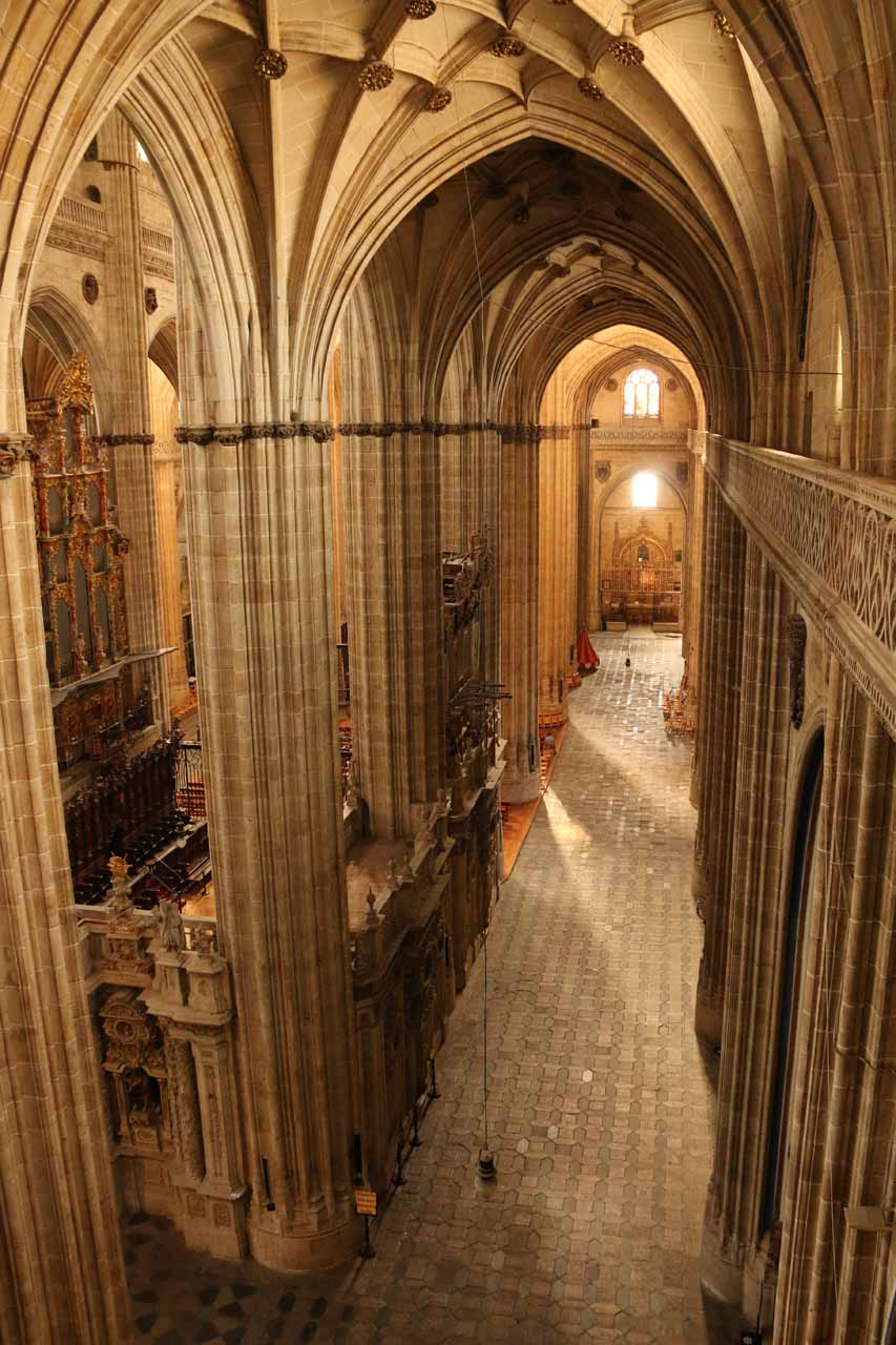 Straight on look at one of the hallways of the New Cathedral seen from Ieronimus